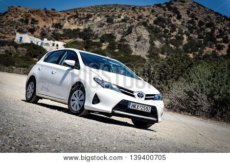 SITIA, CRETE, GREECE - AUGUST 2016: Closeup of Toyota Auris staying among mountains near Sitia town on Crete island, Greece