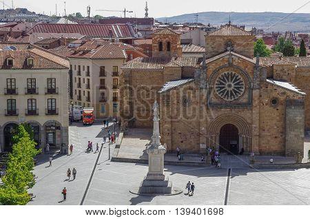 Avila, Spain - August 23, 2012: Church San Pedro of Avila in medieval town Avila Castile and Leon