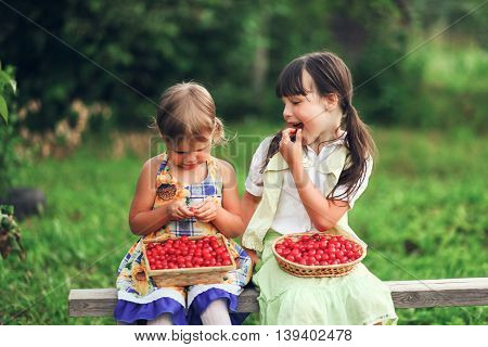 Children Happy In Garden.