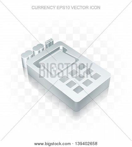 Banking icon: Flat metallic 3d ATM Machine, transparent shadow on light background, EPS 10 vector illustration.