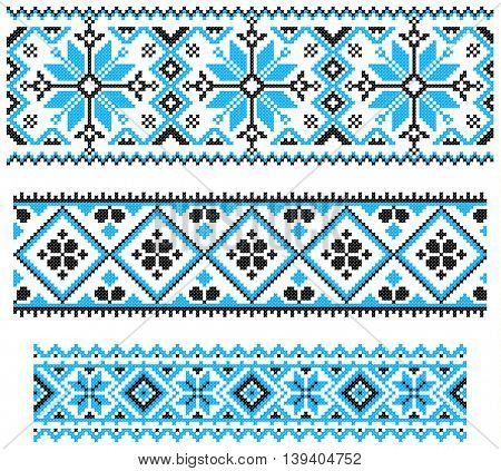 Embroidered old handmade cross-stitch ethnic Ukrainian pattern. Seamless winter ornament