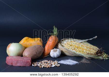 Bodegón de verduras de estación en chile