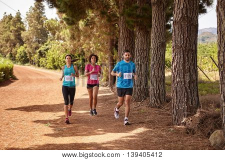 Three Runners Running A Country Marathon