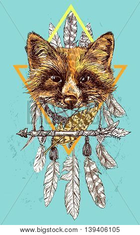 Beautiful hand drawn vector illustration sketching of fox. Tattoo style drawing. Use for postcards, print for t-shirts, posters.