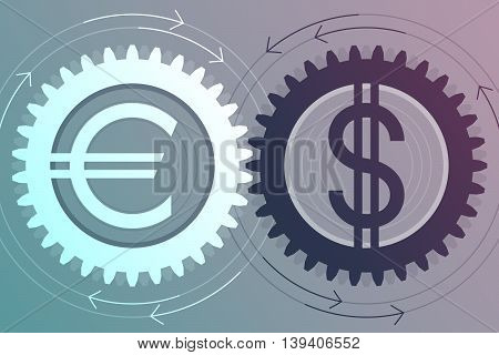 Gear with euro sign inside and gear with dollar sign inside near to each other. Interaction and interdependence of currencies. Money movement concept