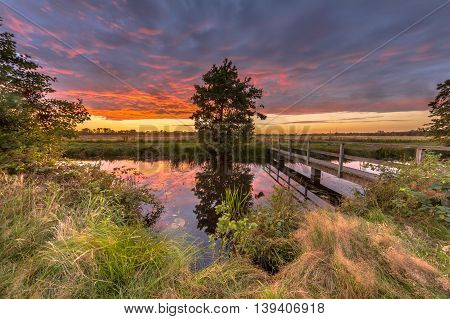 Landscape with Wooden pedestrian bridge over river in dutch countryside near Groningen under purple sunset during a sunday afternoon stroll in august poster