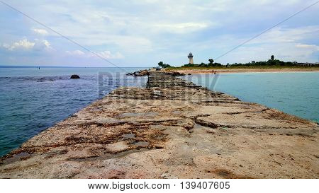 Stone pierce and incredibly beautiful blue seascape