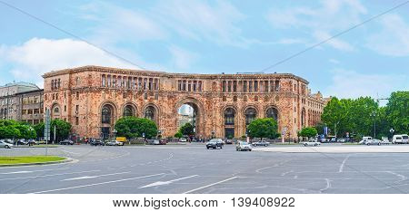 YEREVAN ARMENIA - MAY 29 2016: The pink tufa building of the Ministry of Transport and Communications located in Republic Square on May 29 in Yerevan.