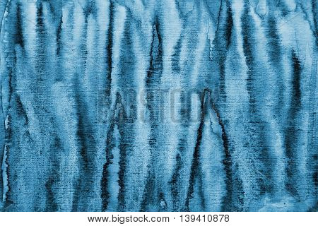 Abstract blue watercolor background with colorful layers on paper texture