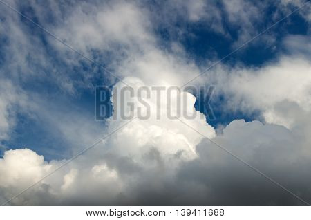 White clouds on blue sky. Nature composition.