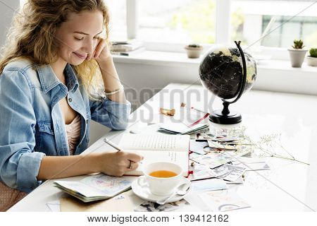 Woman Writing Diary Journey Travel Concept