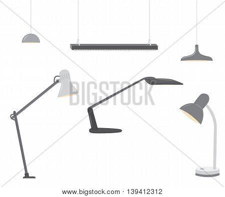 Set of office lighting. Flat design. Vector illustration isolated on white