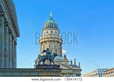 Concert hall (Konzerthaus) and French Church (Franzoesischer Dom) on the Gendarmenmarkt square in Berlin, Germany.