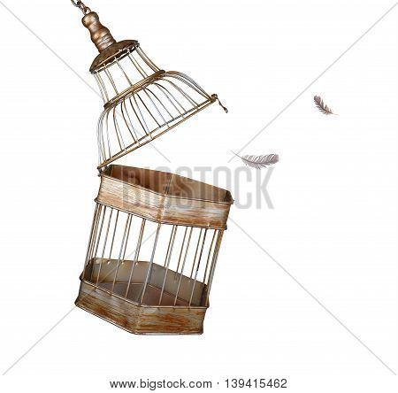 Escaping from the cage on white background