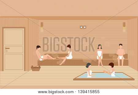 People wearing towels enjoys in sauna steam roomhealthy lifestyle flat design character vector illustration.