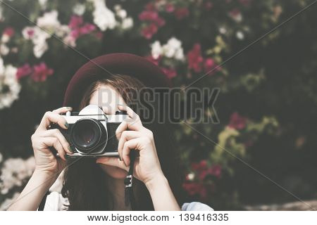 Traveler Photograph Camera Tourist Girl Lady Concept