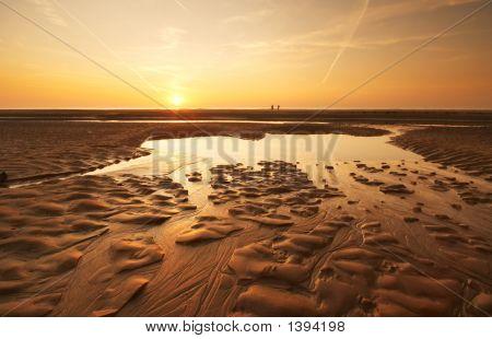 Sonnenuntergang am Abend am Strand