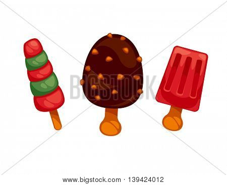 Set of colorful tasty ice creams. Isolated on white. Vector illustration.