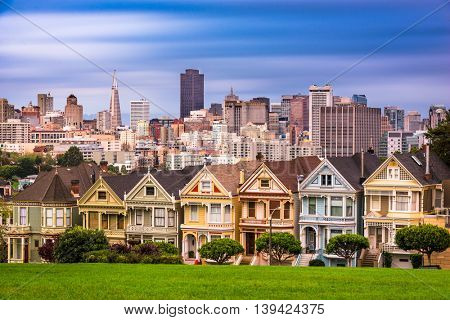 San Francisco, California, USA cityscape at Alamo Square.