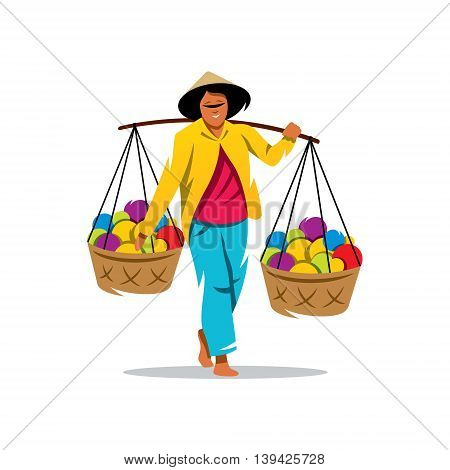 Unidentified man carries bamboo yoke with foods for sale on the street. Isolated on a White Background