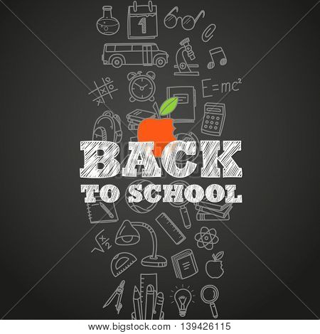 Back to school concept. Different education symbols vector illustration