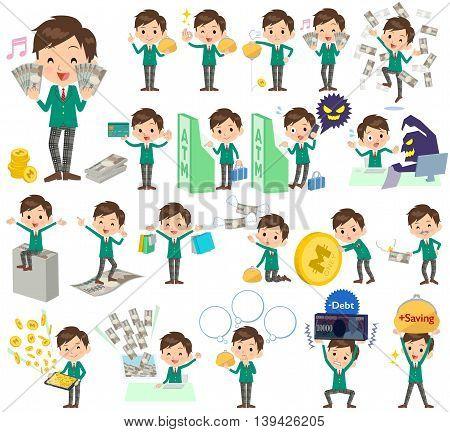 School Boy Green Blazer Money