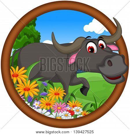 cute buffalo cartoon posing in the frame