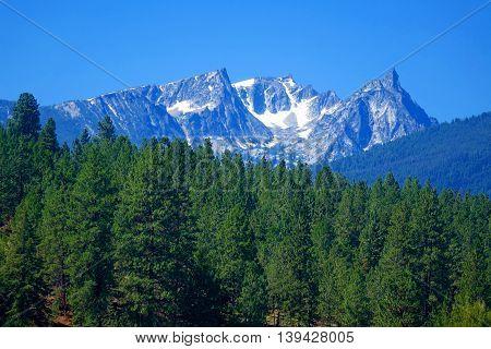 The beautiful, jagged Bitterroot Mountains near Darby, Montana.