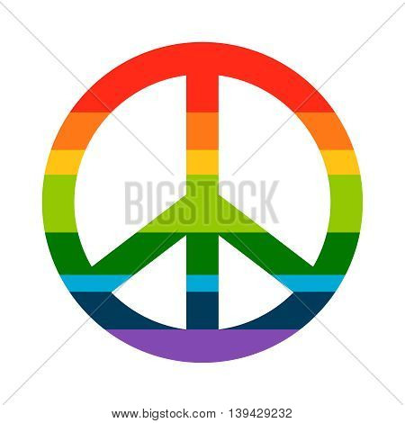 Brightness Rainbow peace symbol on white background. Vector hippie icon