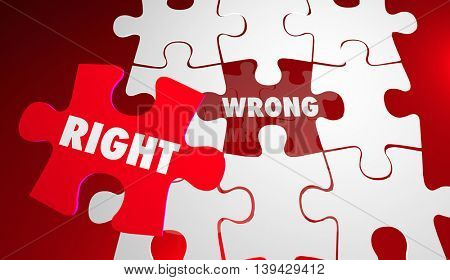 Right Vs Wrong Correct Accurate Puzzle Pieces 3d Illustration