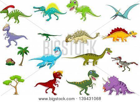 set of cute dinosaur cartoon for you design