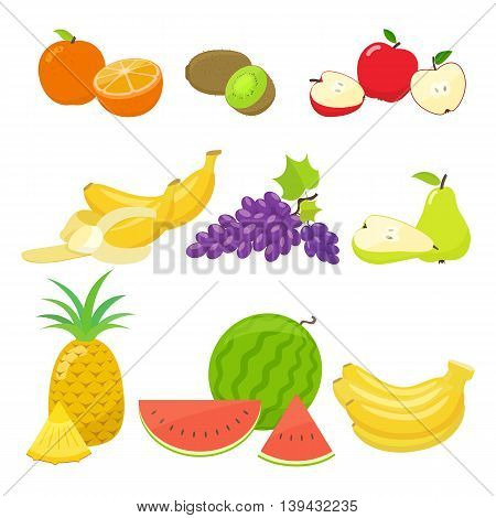 Set of colorful cartoon fruit icons isolated on white background. Vector stock illustration.