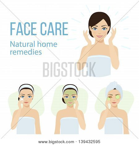 Set of face skin care with natural home remedies. Vector stock illustration.