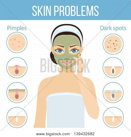 Girl applies cosmetic mask on her face. Skin problems solution home remedies. Vector stock illustration.