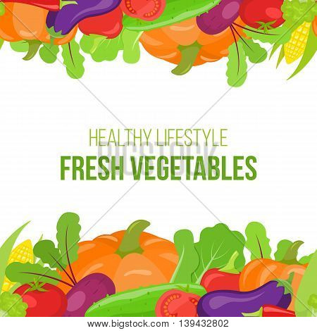 Seamless border of colorful cartoon vegetables on a white background. Vector stock illustration.