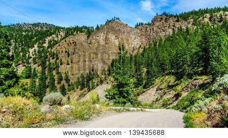 Nicomen Peak as seen from the Nicomen River Road in the Fraser Canyon in British Columbia, Canada
