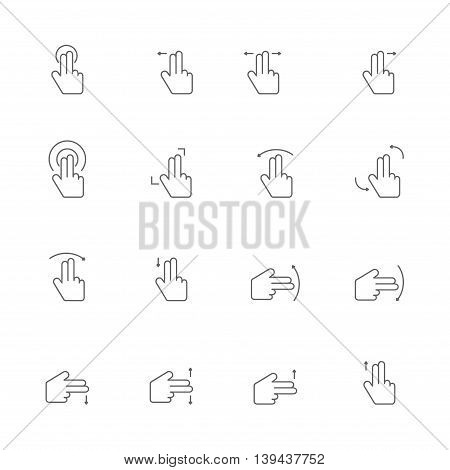 control device in two fingers icons line