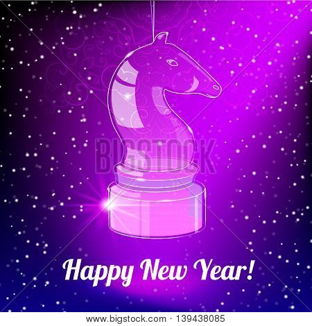 Happy New Year Card for 2014 year with glass horse on purple background