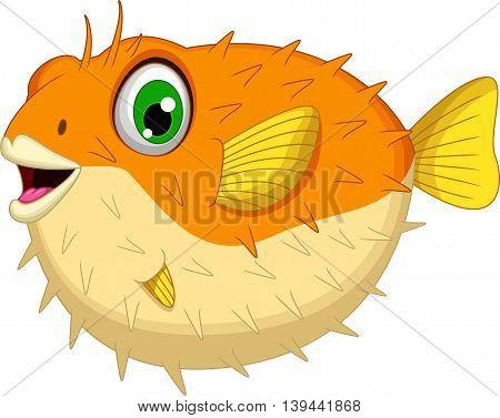 cute Blow fish cartoon posing for you design
