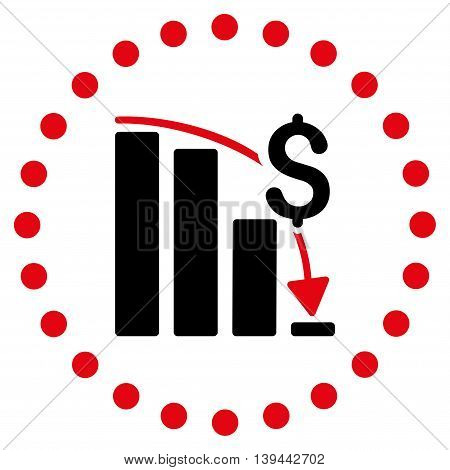 Financial Crisis vector icon. Style is bicolor flat circled symbol, intensive red and black colors, rounded angles, white background.