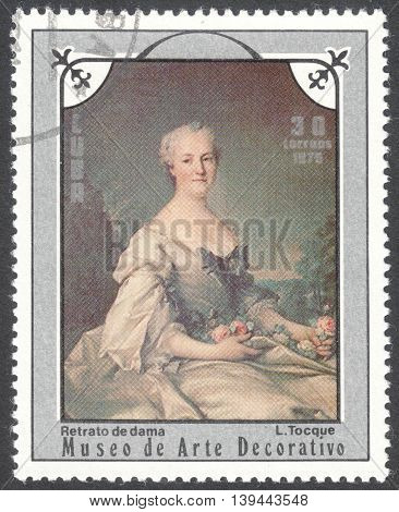 MOSCOW RUSSIA - CIRCA JANUARY 2016: a post stamp printed in CUBA shows painting