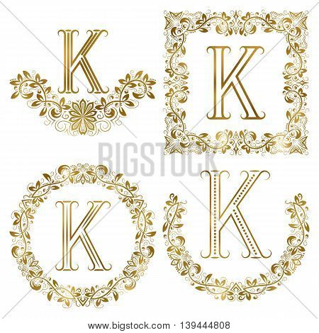 Golden K letter ornamental monograms set. Heraldic symbols in wreaths square and round frames.