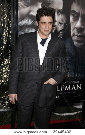Benicio Del Toro at the Los Angeles premiere of 'The Wolfman' held at the ArcLight Theater in Hollywood, USA on February 9, 2010.