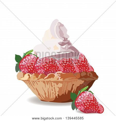 Tart cake with strawberry and cream. Vector Delicious realistic illustration