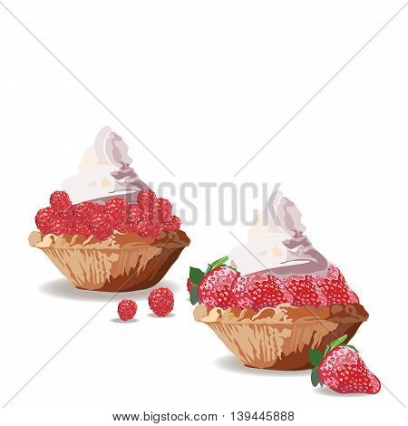 Tart cakes with strawberry and raspberry. Vector Delicious realistic illustration