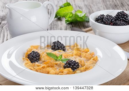 healthy summer breakfast: corn flakes with milk and dewberry in a white dish close up