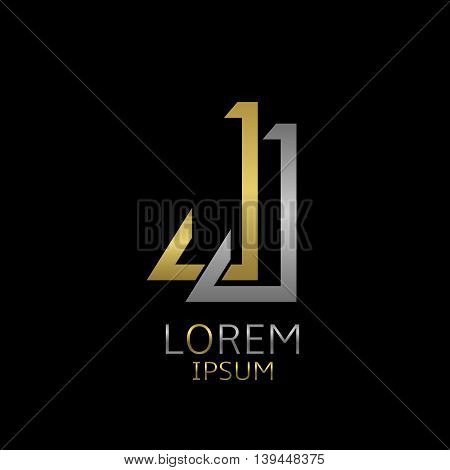 Golden J and silver J letters logo template for your business company