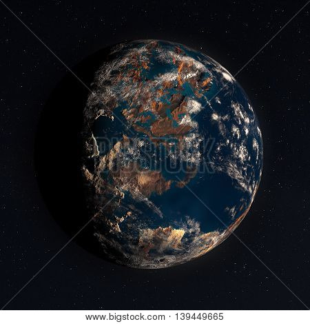 A realistic planet in space with real stars - 3D illustration