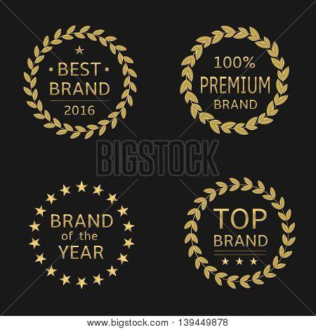 Golden labels. Best brand, premium brand, brand of the year, top brand. Golden laurel wreath set