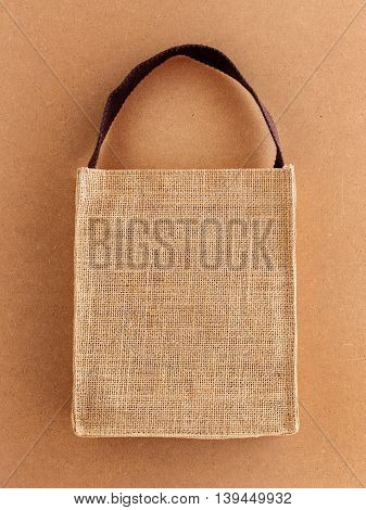 Hessian eco bag on brown eco background
